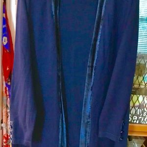 Deep blue cardigan with velvet trim